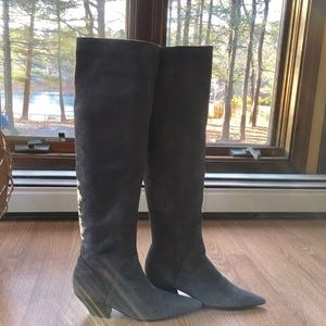 Beautiful Gray Suede Over-the-Knee Boots!